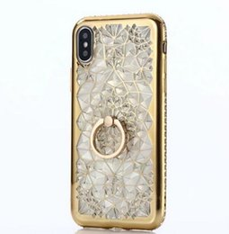 Wholesale iphone cases stand - For iPhone X Case Luxury Bling Diamond 3D Soft TPU Silicone Back Cover For iPhone 7 6 6Plus 6s Plus Case Ring Stand
