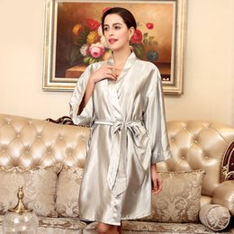 Women Satin Kimono Robe Sexy Kimono Bathrobe Gown Sleepwear Female Faux Silk  Bath Nightgown Solid Burgundy Casual Nightwear 67087c042