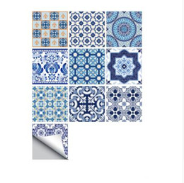 Wholesale Vinyl Tile Adhesive - Funlife Self -Adhesive Blue and White Porcelain Wall Art Waterproof Tile Stickers Kitchen Bathroom Furniture Decoration TS010