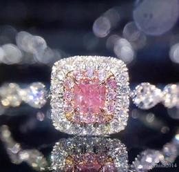 Argentina Victoria Wieck joyería de lujo 925 de plata esterlina Princess Cut Pink Sapphire CZ Diamond Zirconia boda mujeres anillo de compromiso SZ 5-10 Suministro