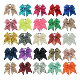 "Wholesale Sequin For Kids - 8"" Fashion Handmade Sequin Bling Cheer Bows for Girl Children Kids Boutique Sequin Hair Accessories with Elastic"