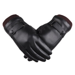 Wholesale Leather Winter Mittens - Touch Screen PU Leather Gloves Winter Mittens Fleece Lining Warm Gloves For Man Winter Black Ski Glove guantes European Style