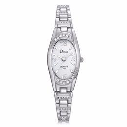 Wholesale Oval Watches For Women - Vogue Oval Small Dial Watches For Women Elegant Rhinestone Bracelet Watch Ladies Diamond Dress Quartz Wrist Watch Relogio #LH