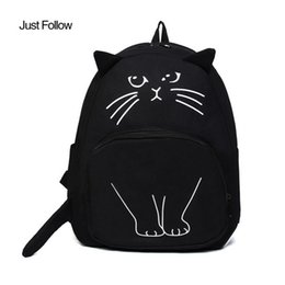 Wholesale White Cat Backpack - 2018 New Cat Print Backpack Ladies Casual Cute Rucksack Bookbags Women Canvas Backpack School Bags For Teenagers