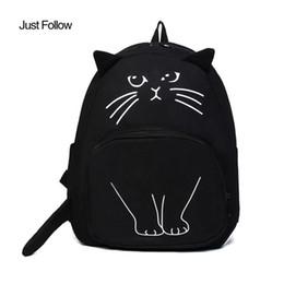 Wholesale Bookbags For School - 2018 New Cat Print Backpack Ladies Casual Cute Rucksack Bookbags Women Canvas Backpack School Bags For Teenagers
