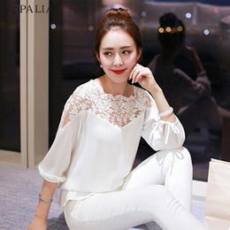 Wholesale Top Stylish Ladies Long Shirts - ROPALIA Stylish Women Shirts Summer Loose Casual Chiffon Long Sleeve Lace Shirt Ladies Tops Blouse