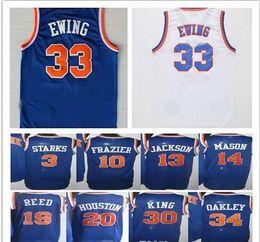 Wholesale Houston S - Men's Throwback Blue 3 John Starks 10 Walt Frazier 13 Mark Jackson 14 Anthony Mason 19 Willis Reed 20 Allan Houston 33 Patrick Ewing Jersey