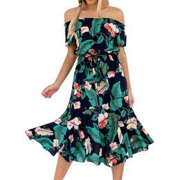 vestidos vitorianos azuis curtos Desconto Folha havaiana midi boho dress mulheres off ombro barra de pescoço elegante festa vintage vestidos robe vestido
