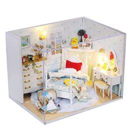 Wholesale diy princess girl gifts - 3D Handmade Doll House Furniture Miniatura Diy Dream Princess Miniature Dollhouse Wooden Toys For Children Girl Birthday Gift