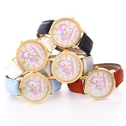 orologi impermeabili svegli Sconti Carino unicorno cintura impermeabile orologio uomo donna quarzo gioielli studente paio di orologi regalo per bambini in pelle orologio gioielli GGA782