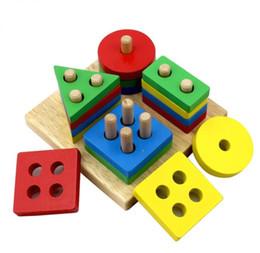 blocos de construção do castelo de brinquedo de plástico Desconto Montessori Geométrica Coluna Forma Empilhador Sorter Matching Blocos de Inteligência Board Crianças Crianças De Madeira Brinquedo Educativo - 13 * 13 cm