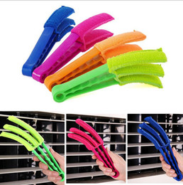 Wholesale Air Condition Tools - 3-blades Window Blinds Brushes Air Condition Cleaner Shutter Home Tool Multifunctional Dust Cleaning Brush Clip OOA4259