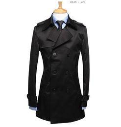 Wholesale Men S Belted Trench Coat - Black mens trench coats belt slim fashion casual casaco masculino short trench coat men overcoat jaqueta masculina plus size