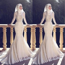 Wholesale Long Sleeved Mermaid Wedding Dresses - 2018 Muslim Pakistan Middle East Wedding Dresses Crew Neck White Applique Lace Long Sleeved Bridal Wedding Gowns