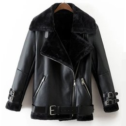 Wholesale lamb leather coats women - Faux Leather Suede Coat Aviator Black Leather Jacket Winter Warm Lambs Wool Fur Collar Suede Jackets Shearling Coats Women