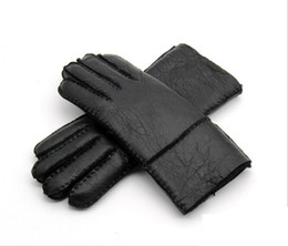 Wholesale Male Genuine Leather Gloves - 2017 Winter Warm Leather Men's Gloves Genuine Leather Sheepskin Men Gloves Wool Male Mittens Thermal Hand-made Brand