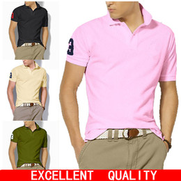 Wholesale Polo Dress Shirts - Hot sell Brand Men's Big Horse Embroidery Polo Shirt Short Sleeve Casual Solid Color Button Slim Fit Cotton Male Dress Clothing Polo Shirt