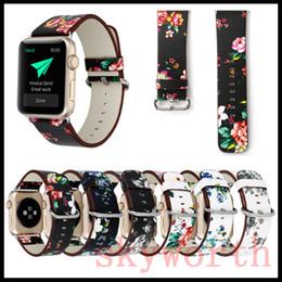 Blume leder uhr online-Für Apple Watch 4 3 2 1 Strap Bands Echte Echtes Leder Blume Straps Band 38 / 42mm 40 / 44mm Armbänder Mit Adapter
