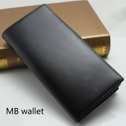 Wholesale Black Suit Men Leather - Luxury MB designer famous luxury brand Genuine Leather mens wallets men Bi-Fold clutch purses credit card holder Suit money clip Wallet