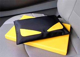 Geldbörse gelb online-Neue Mode Designer Männer große Handtasche Italien hochwertige Leinwand Qualität 7129 Reißverschluss schwarz mit gelben quadratischen Brieftasche mit Box