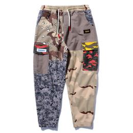 Wholesale Vintage Sweatpants - Hip Hop Sweatpants Men Patchwork Casual Trousers Vintage Color Block Harem Joggers Camo Tatical Cargo Pants