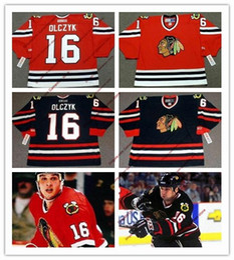 Wholesale Hawk Jerseys - 16 ED OLCZYK ens Chicago Blackhawks ED OLCZYK Throwback VINTAGE Jerseys Stitched Black hawks 1999 Game Worn Red hockey Jersey S-3XL