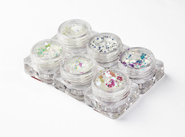 "Белоснежный блеск онлайн-Rainbow Dazzling Glitter mix, ""Snow white"", iridescent, hexagonal, nail art, resin UV 6 pcs Ultra-thin Mermaid Hexagon Flakes"