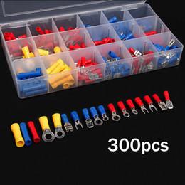 connecteurs bout à bout Promotion 300Pcs Assortiment de Bornes de Fil Électrique Isolées Crimp Terminator Spade Butt Connecteurs Set Rouge Jaune Bleu