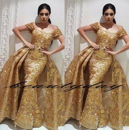 vestido de fiesta de gasa azul brillo Rebajas Oriente Medio Dubai Árabe 2019 Modest Gold Off Shoulder Vestidos de noche formales Lentejuelas con encaje sirena Apliques Vestidos de fiesta con falda larga