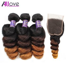 Wholesale Ombre Curly Hair Weaves - 3 Bundles With Closure Peruvian Loose Wave Hair T1b 4 27 Malaysian Virgin Hair Weft Ombre Indian Human Hair Brazilian Loose Curly Extensions
