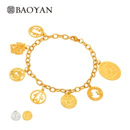 Wholesale lovely bear stainless steel - Baoyan New Cute 316L Stainless Steel Gold Silver Color Lovely Children Famliy Mama Bear Boy Girl Jewelry Charm Bracelet Bangle