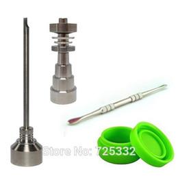 Venta total 10 mm 14 mm 18 mm Juego de herramientas de uñas de titanio ajustable Bong sin hogar con tapa de carburo Herramienta dabber Slicone Tarro Contenedor desde fabricantes