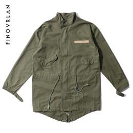 Wholesale korean style trench coat - 2018 new Fashion Korean Hot Sale Men's Japan Jacket Overcoat Kanye West Black Green Long  Style European Trench Coat