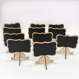 Titular de la tarjeta de madera online-Mini pizarra de madera pizarra para mesa de boda tablero de mensajes con soporte titular boda fiesta decoración lugar de madera tarjeta titular mesa