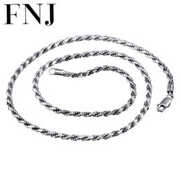 thai silver chains Promo Codes - whole sale2 3MM Rope Chain 925 Sterling Silver Necklace Men 100% S925 Solid Thai Silver Chains Necklaces for Women Jewelry Making