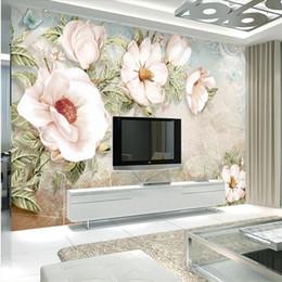 beibehang Европейские ретро масляной живописи цветы современный минималистский телевизор фон стена крупномасштабные росписи обои papel de parede от Поставщики полосатые обои металлические