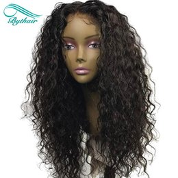 Wholesale Long Malaysian Hair - Bythair Pre Plucked Curly Full Lace Human Hair Wigs For Black Women Lace Front Wig Brazilian Virgin Hair With Baby Hair Bleached Knots