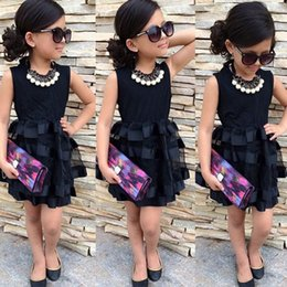 Wholesale Tulle Bow Stripe - children baby girls pageant black stripe solid tulle party dress kids girls elegant lace patchwork sleeveless dress