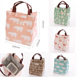 Wholesale Insulate Lunch Bags - 6 Styes Insulated Lunch Bag Flamingo Bear Drawing Picnic Lunch Pouch Bag Baskets With String Home Organization WX9-392