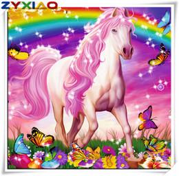 vernice doni di cavallo Sconti Fai da te diamante pittura a punto croce kit mosaico home decor regalo animale cavallo rosa pieno roundsquare diamante 5D ricamo saggezza giocattolo AA0687