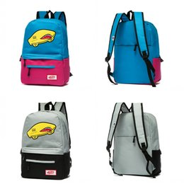 Wholesale car body designs - New Vans Sports outdoor backpack shoulder bag Cars Joint Comic strip design Fashion Blue Red Grey Black School Bags