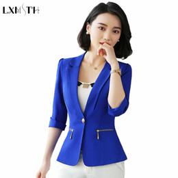 143824b8f7 LXMSTH Três Quartos Escritório Blazer Mulheres Verão Novas Senhoras Coreanas  Formais Fino Elegante Blazers 2018 Plus Size Terno Casaco Jaqueta korean  office ...