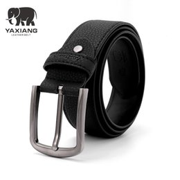 Wholesale Fancy Jeans - YAXIANG 2018 Belt Men Genuine Leather Luxury Strap Belts for Male Buckle Fancy Vintage Jeans Cintos Masculinos Ceinture Homme