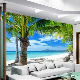 Wholesale Hotels Island - Modern Background Large Painting Coco Beach Island Dolphin Pared 3d Wallpaper Hotel Bad room Mural for Living Room