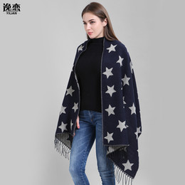 Wholesale double sided cashmere pashmina - Luxury Brand women cashmere Scarf double side five-pointed star pattern Shawls and Scarves lady winter cape echarpe YL-70057