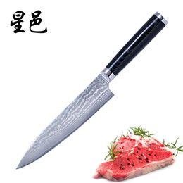 2018 Nuevo cuchillo de chef japonés de 8 pulgadas 67 capas de acero de Damasco Vegetal de corte de cocina con mango de madera macizo Hamtared fácil por XINGYI desde fabricantes