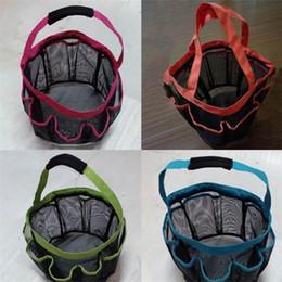 Maglia di maglia piccola online-8 Pocket Mesh Shower Caddy Tote Eco Friendly con manico Wash Bag Cestelli di stoccaggio pieghevoli in plastica Pratico piccolo 10 5wx cc