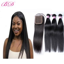 Wholesale Indian Remy Hair Closures - BD Indian Virgin Human Hair Straight Unprocessed Remy Hair Malaysian Brazilian 3 Bundles With Lace Closure With a Gift