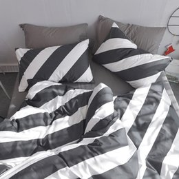 Wholesale zebra print bedding king - New style zebra color stripes paern 100%Coon BedSheet Bedding Sets Pillow cases 3 4pcsTwin Queen King size TJ-37