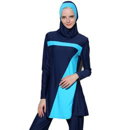 Mangas de maiô mais tamanho on-line-Nova Push Up manga longa Muçulmano Swimwear islâmico desgaste da nadada Para As Mulheres Plus Size Modest Hijab Islâmico Swimsuit Burkinis